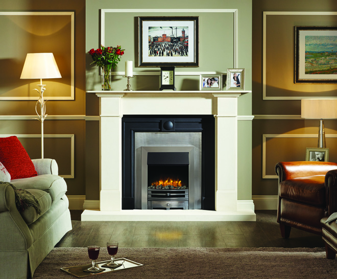 Logic Electric Chartwell with brushed steel effect frame and highlight polished front with grey pebble fuel effect
