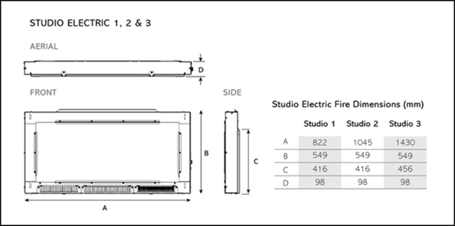 Studio Electric Glass Dimensions