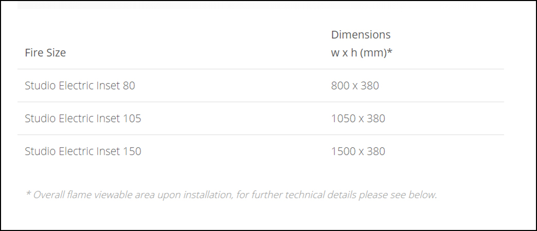Studio Electric Inset Dimensions