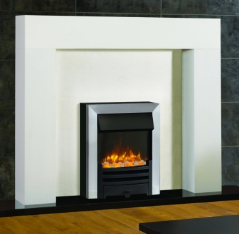 Logic2 Electric Arts with Matt Black Fret and Brushed Steel effect Frame and spacer frame. Shown with Stovax Malmo Mantel